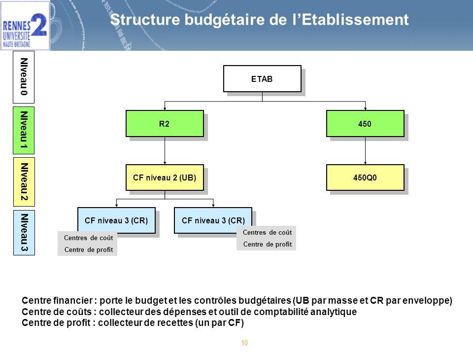 10 Structure budgétaire de lEtablissement 450 450Q0 ETAB R2 CF niveau 2 (UB) CF niveau 3 (CR) Centres de coût Centre de profit Centres de coût Centre de profit Centre financier : porte le budget et les contrôles budgétaires (UB par masse et CR par enveloppe) Centre de coûts : collecteur des dépenses et outil de comptabilité analytique Centre de profit : collecteur de recettes (un par CF) Niveau 0 Niveau 1 Niveau 2 Niveau 3