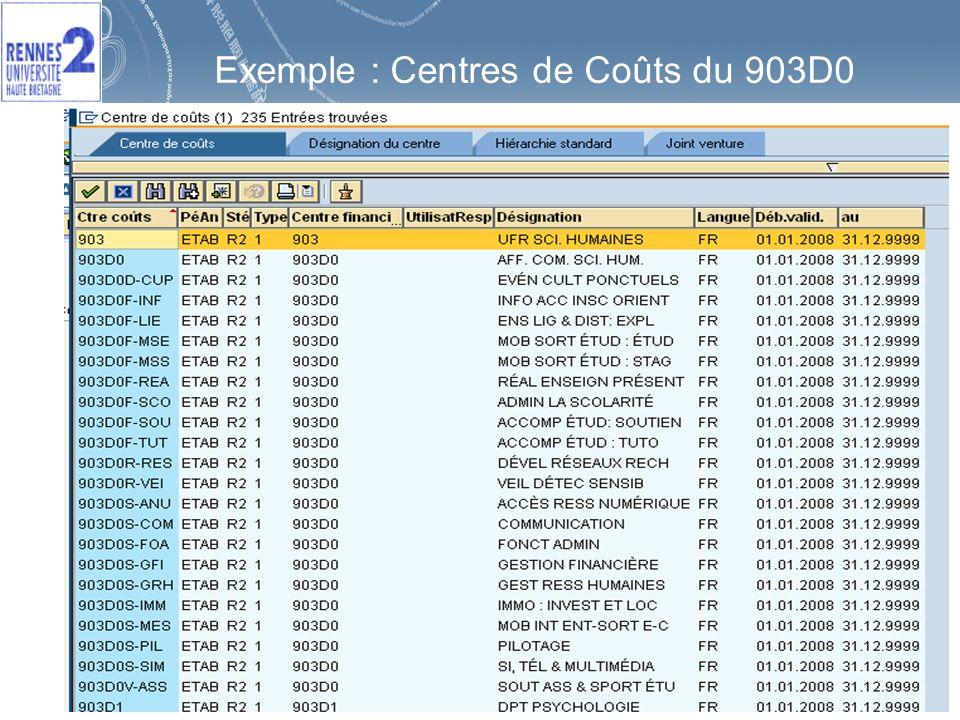 19 Exemple : Centres de Coûts du 903D0