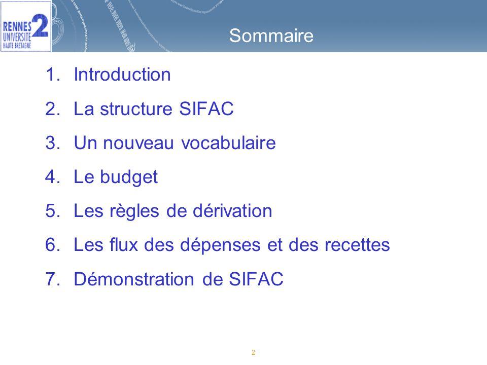 73 Sommaire 1.Introduction 2.La structure SIFAC 3.Un nouveau vocabulaire 4.Le budget 5.Les règles de dérivation 6.Les flux des dépenses et des recettes 7.Démonstration de SIFAC