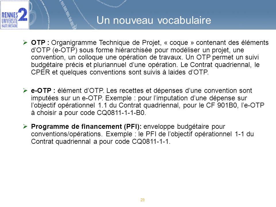 29 Un nouveau vocabulaire OTP : Organigramme Technique de Projet, « coque » contenant des éléments dOTP (e-OTP) sous forme hiérarchisée pour modéliser un projet, une convention, un colloque une opération de travaux.