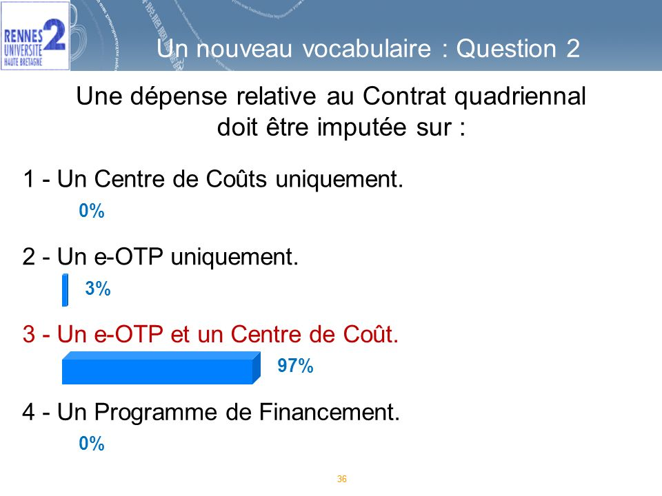 36 Une dépense relative au Contrat quadriennal doit être imputée sur : 36 1 - Un Centre de Coûts uniquement.