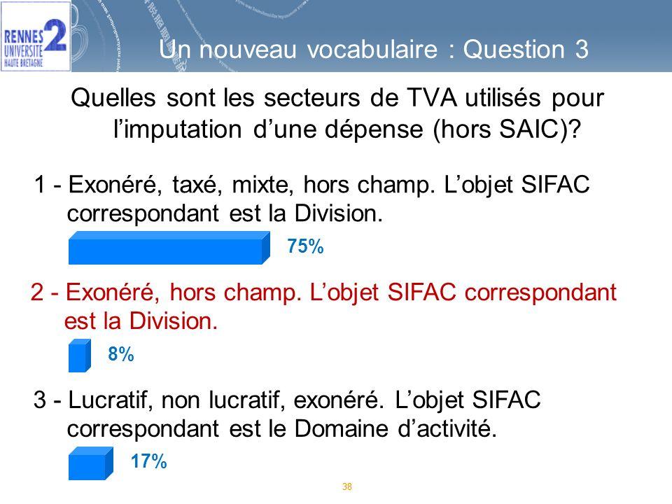 38 1 - Exonéré, taxé, mixte, hors champ.Lobjet SIFAC correspondant est la Division.