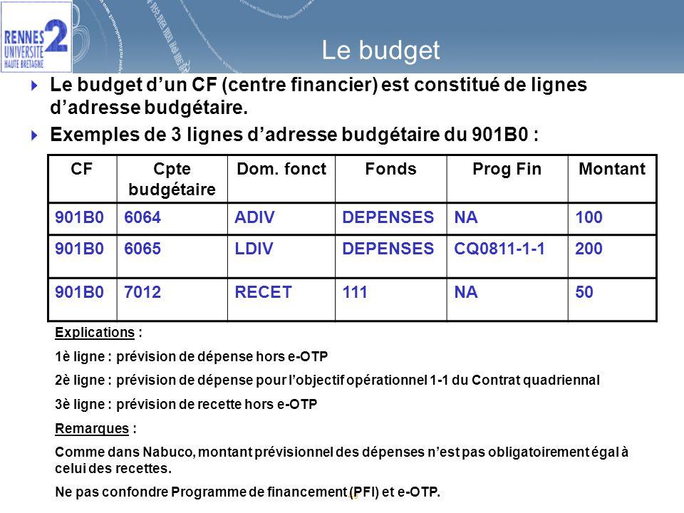 40 Le budget Le budget dun CF (centre financier) est constitué de lignes dadresse budgétaire.
