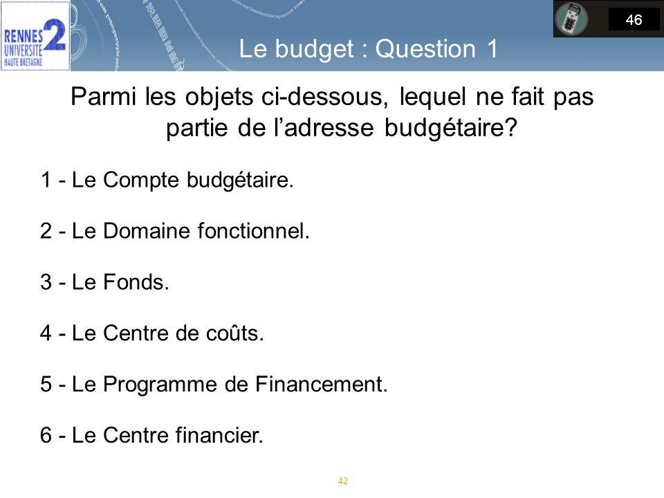 Parmi les objets ci-dessous, lequel ne fait pas partie de ladresse budgétaire.
