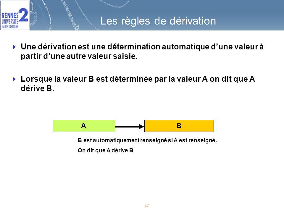 47 Les règles de dérivation A B Une dérivation est une détermination automatique dune valeur à partir dune autre valeur saisie.