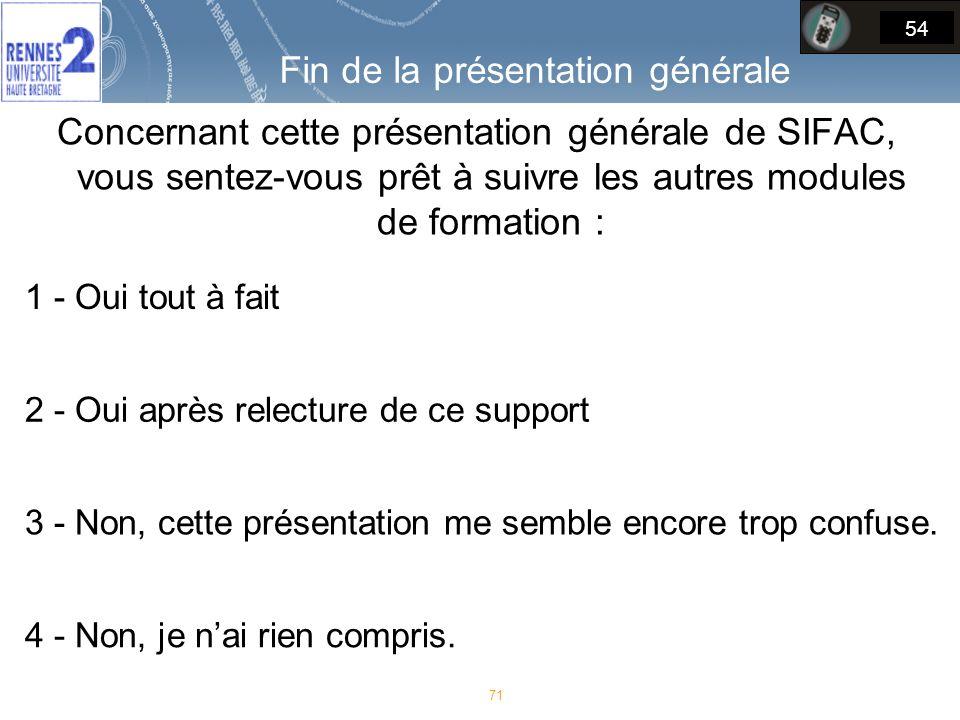 Concernant cette présentation générale de SIFAC, vous sentez-vous prêt à suivre les autres modules de formation : 71 54 1 - Oui tout à fait 2 - Oui après relecture de ce support 3 - Non, cette présentation me semble encore trop confuse.