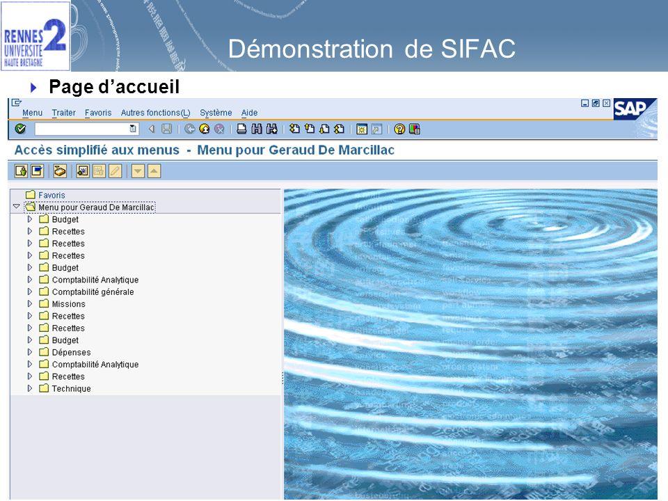 77 Démonstration de SIFAC Page daccueil