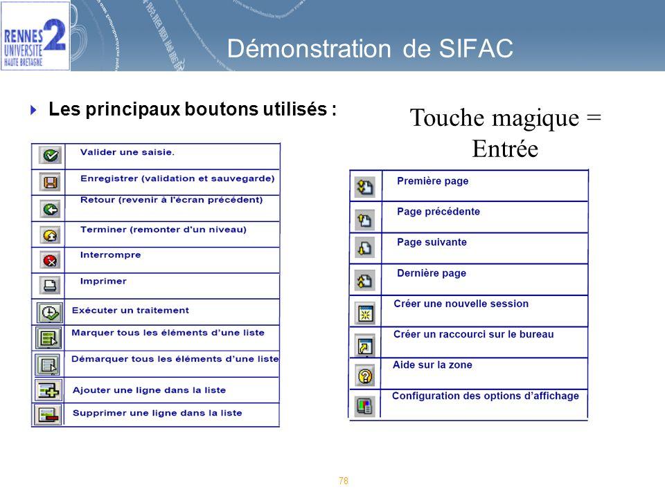78 Démonstration de SIFAC Les principaux boutons utilisés : Touche magique = Entrée