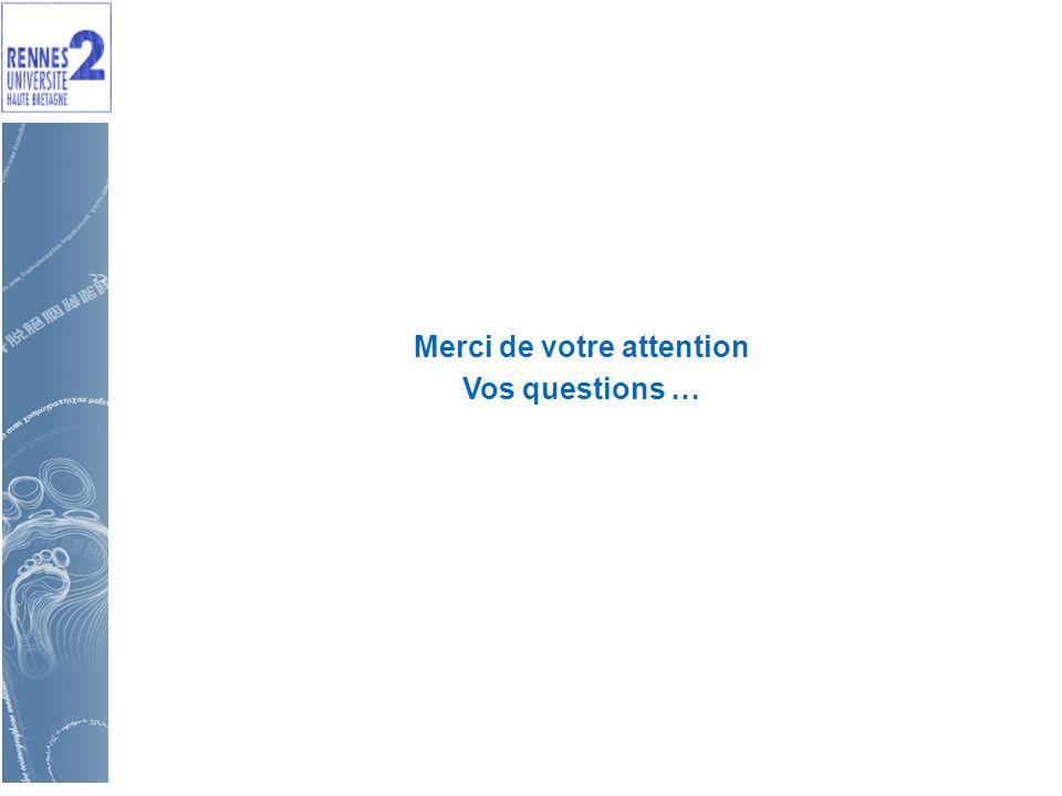 Merci de votre attention Vos questions …
