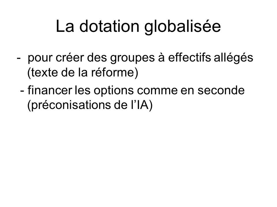 La dotation globalisée - pour créer des groupes à effectifs allégés (texte de la réforme) - financer les options comme en seconde (préconisations de lIA)