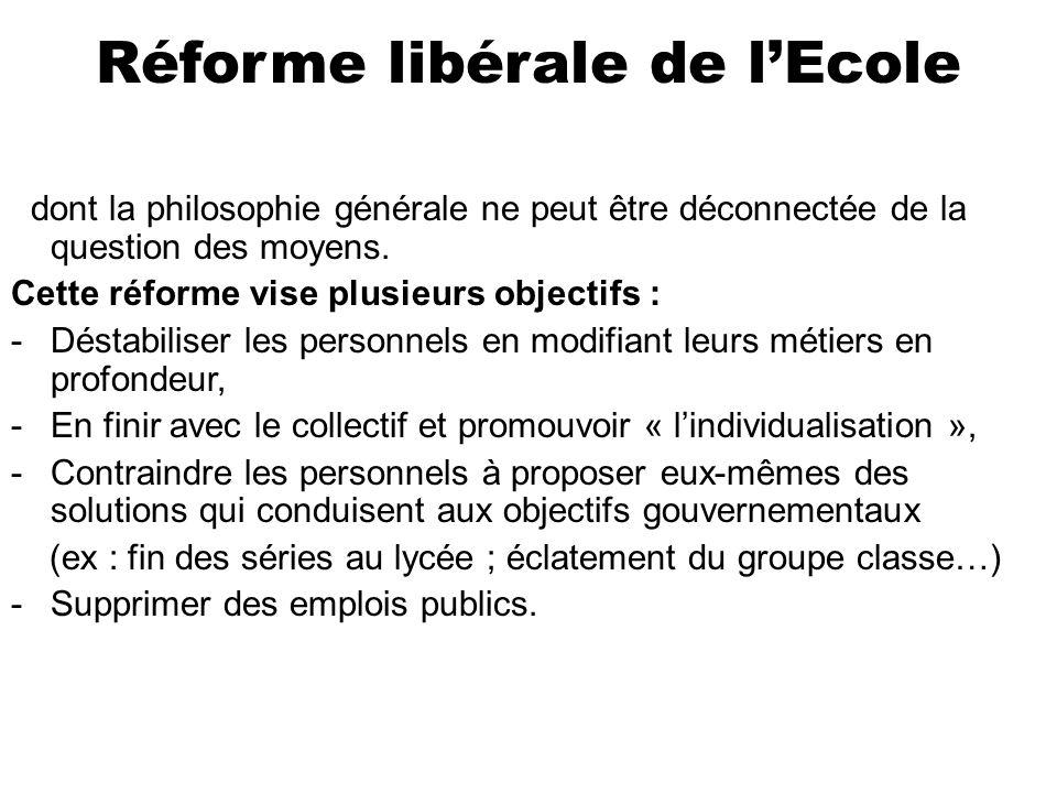 Réforme libérale de lEcole dont la philosophie générale ne peut être déconnectée de la question des moyens.