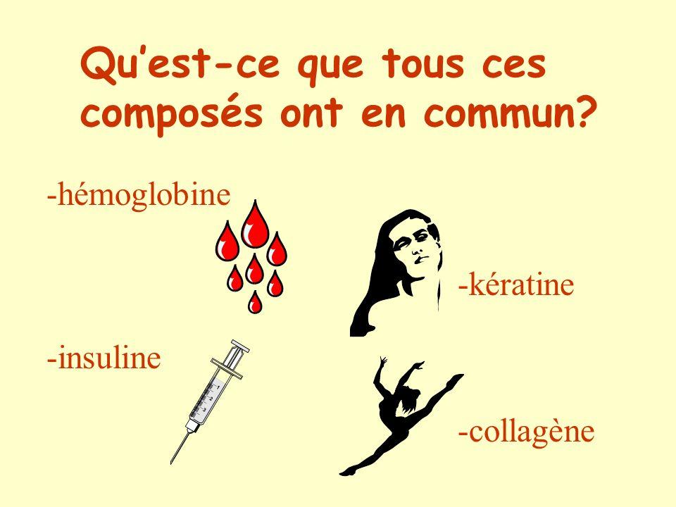 hémoglobine Alors???? kératine insuline collagène Ce sont des protéines!!!!!