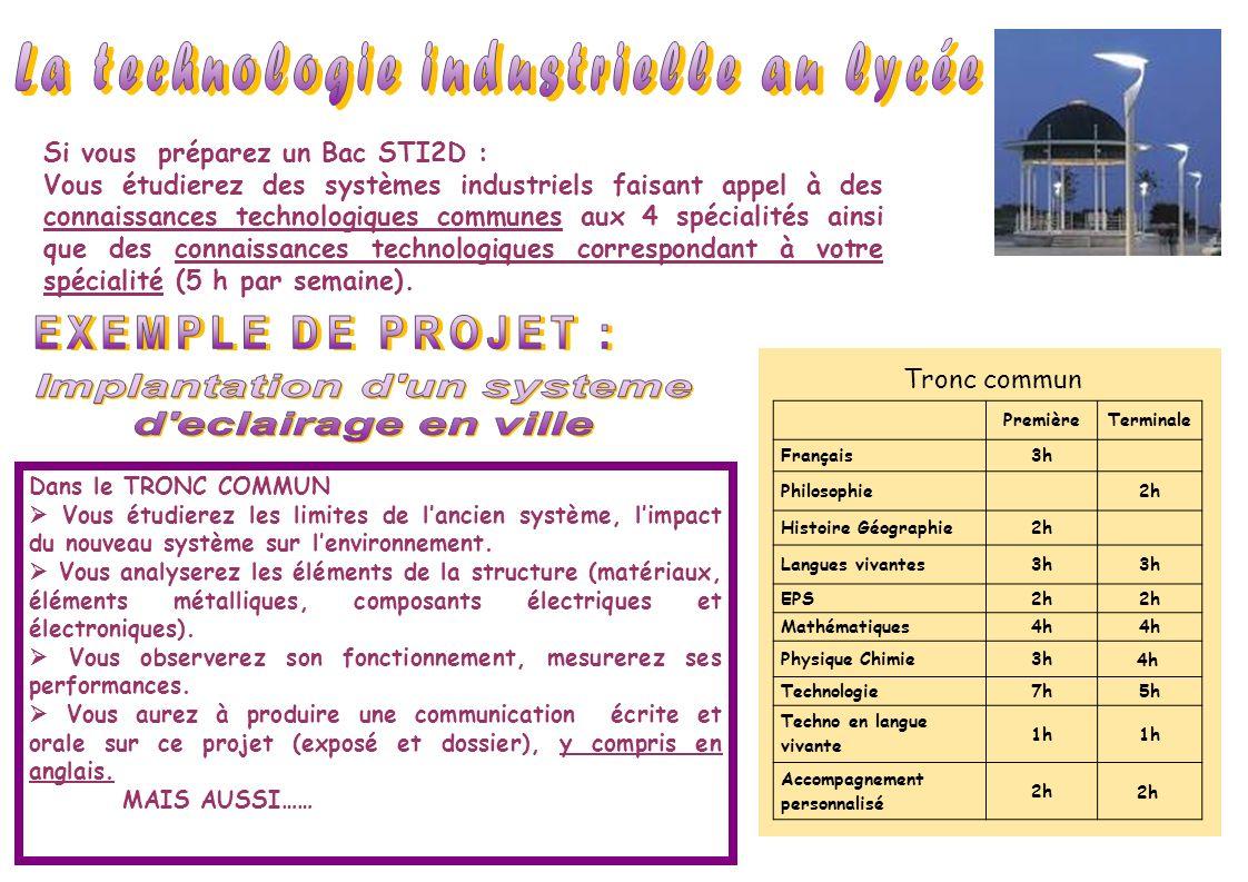 Si vous préparez un Bac STI2D : Vous étudierez des systèmes industriels faisant appel à des connaissances technologiques communes aux 4 spécialités ai