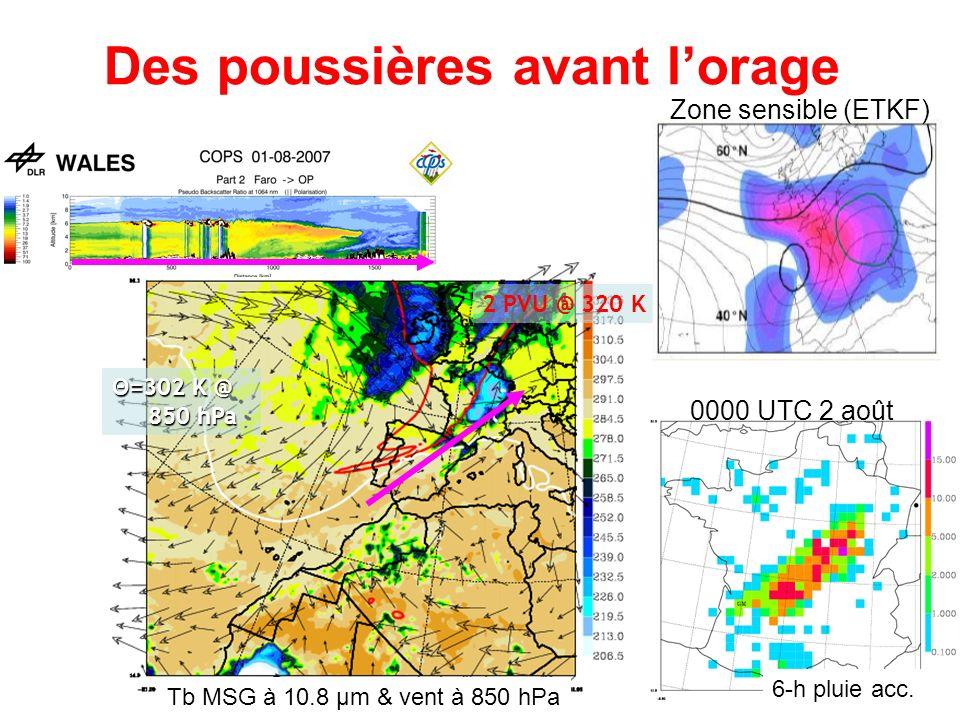 Θ=302 K @ 850 hPa 2 PVU @ 320 K Tb MSG à 10.8 µm & vent à 850 hPa Des poussières avant lorage 0000 UTC 2 août 6-h pluie acc. Zone sensible (ETKF)