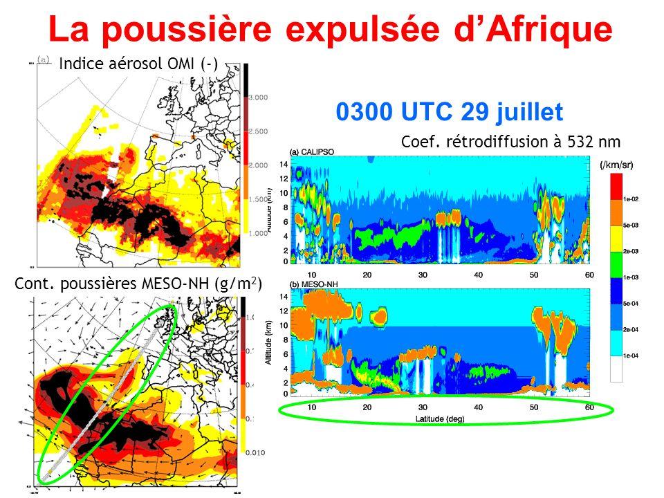 La poussière expulsée dAfrique 0300 UTC 29 juillet Coef.