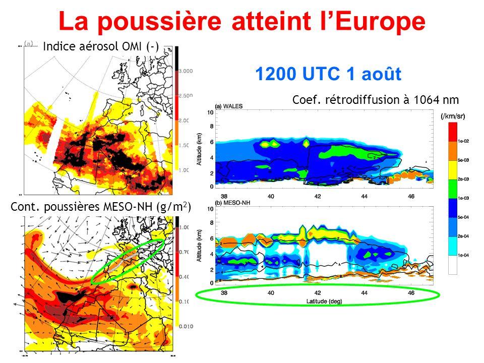 La poussière atteint lEurope 1200 UTC 1 août Coef.