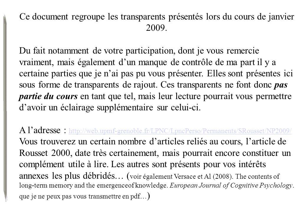 Ce document regroupe les transparents présentés lors du cours de janvier 2009. Du fait notamment de votre participation, dont je vous remercie vraimen