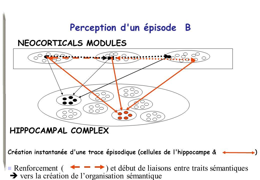 Renforcement ( ) et début de liaisons entre traits sémantiques ) vers la création de lorganisation sémantique Perception d'un épisode B Création insta