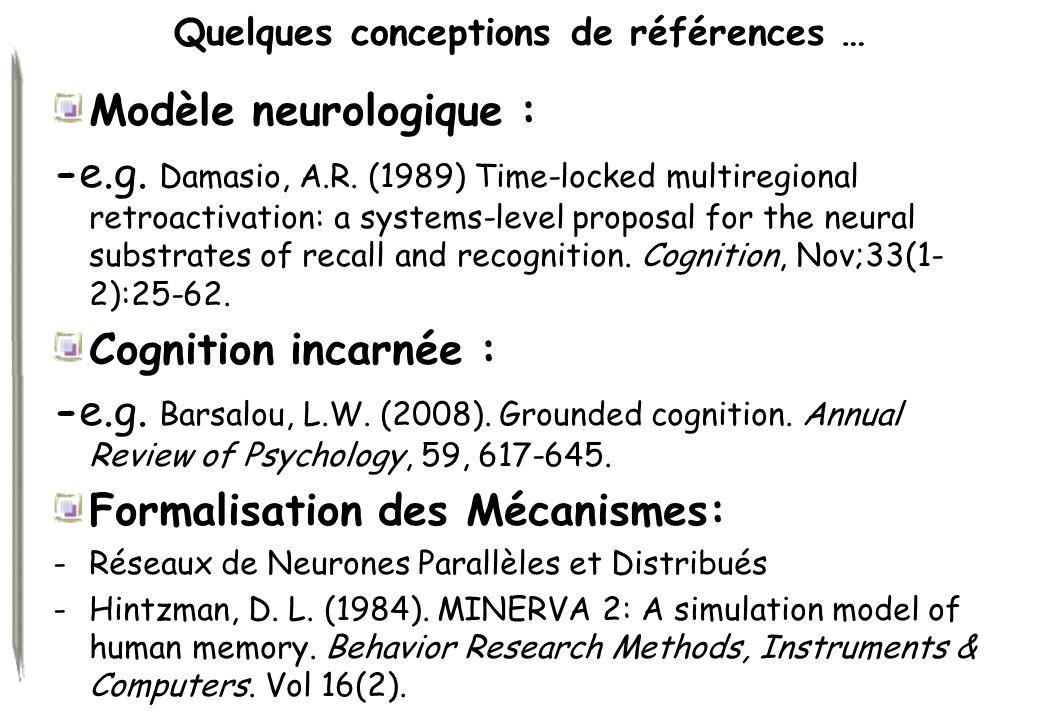 Quelques conceptions de références … Modèle neurologique : -e.g. Damasio, A.R. (1989) Time-locked multiregional retroactivation: a systems-level propo