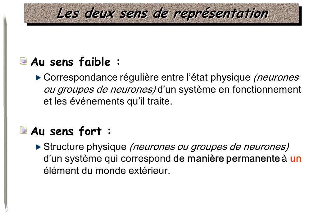 Les deux sens de représentation Au sens faible : Correspondance régulière entre létat physique (neurones ou groupes de neurones) dun système en foncti