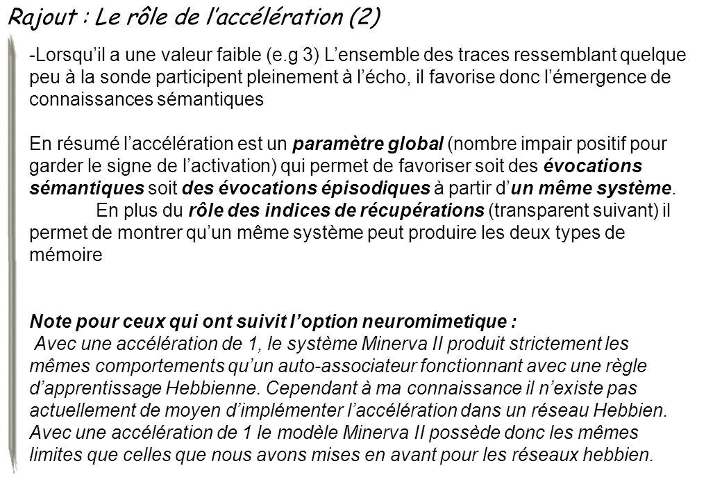 Rajout : Le rôle de laccélération (2) -Lorsquil a une valeur faible (e.g 3) Lensemble des traces ressemblant quelque peu à la sonde participent pleine