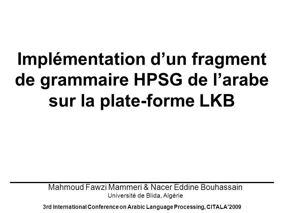 12 Head driven Phrase Structure Grammar (HPSG) matériaux Règles de Grammaire (Schémas de règles) Lexique Principes de bonne formation Règles Lexicales Hiérarchie de Type Conditions dAppropriation