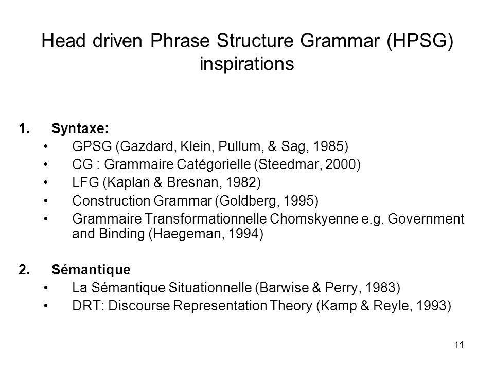 11 Head driven Phrase Structure Grammar (HPSG) inspirations 1.Syntaxe: GPSG (Gazdard, Klein, Pullum, & Sag, 1985) CG : Grammaire Catégorielle (Steedma