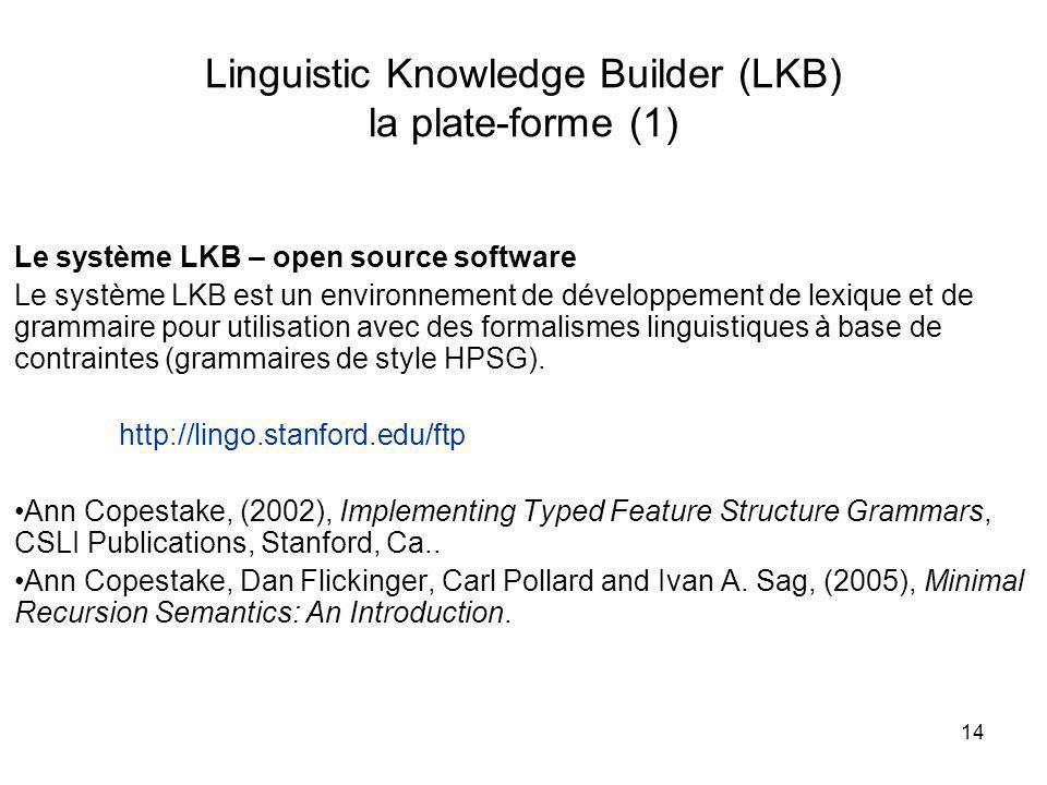 14 Linguistic Knowledge Builder (LKB) la plate-forme (1) Le système LKB – open source software Le système LKB est un environnement de développement de