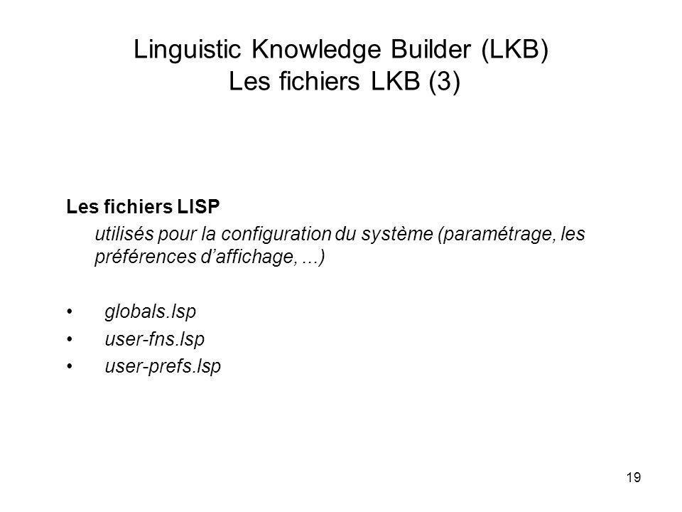 19 Linguistic Knowledge Builder (LKB) Les fichiers LKB (3) Les fichiers LISP utilisés pour la configuration du système (paramétrage, les préférences d