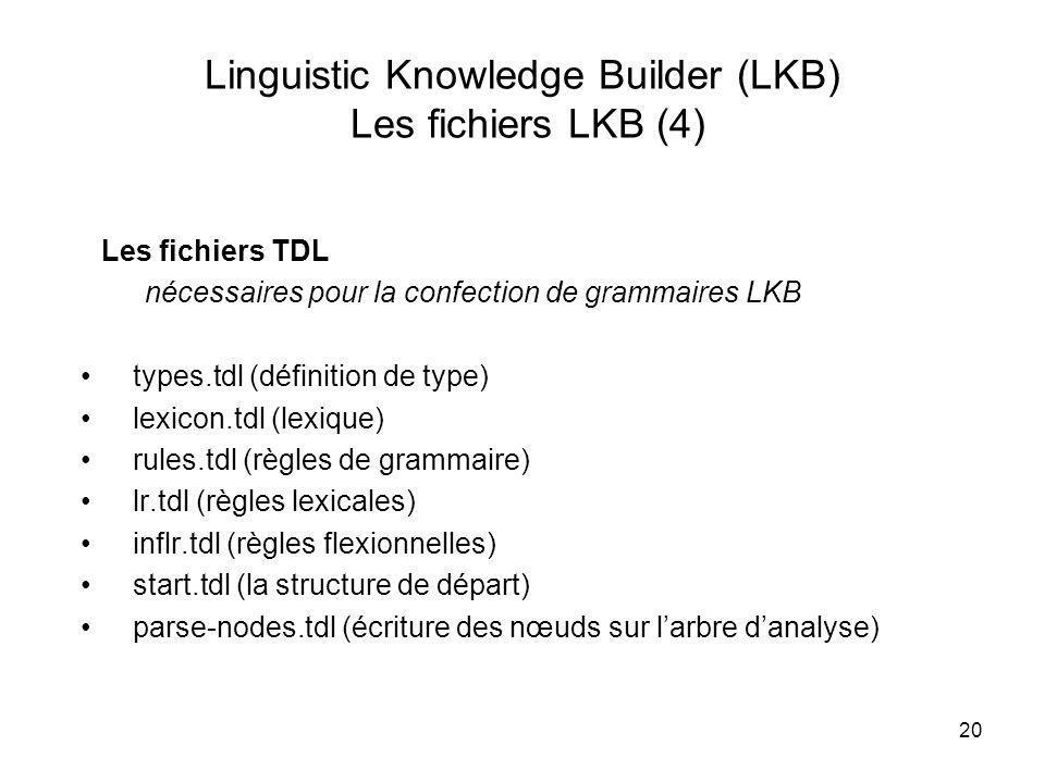 20 Linguistic Knowledge Builder (LKB) Les fichiers LKB (4) Les fichiers TDL nécessaires pour la confection de grammaires LKB types.tdl (définition de