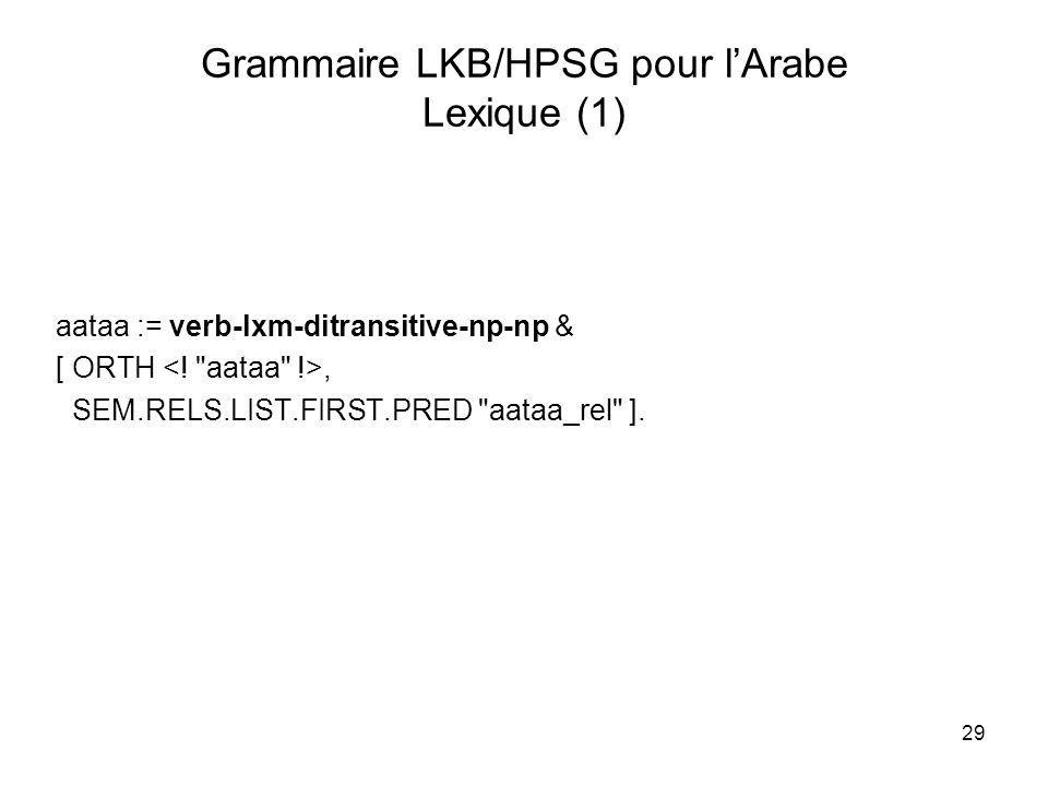 29 Grammaire LKB/HPSG pour lArabe Lexique (1) aataa := verb-lxm-ditransitive-np-np & [ ORTH, SEM.RELS.LIST.FIRST.PRED