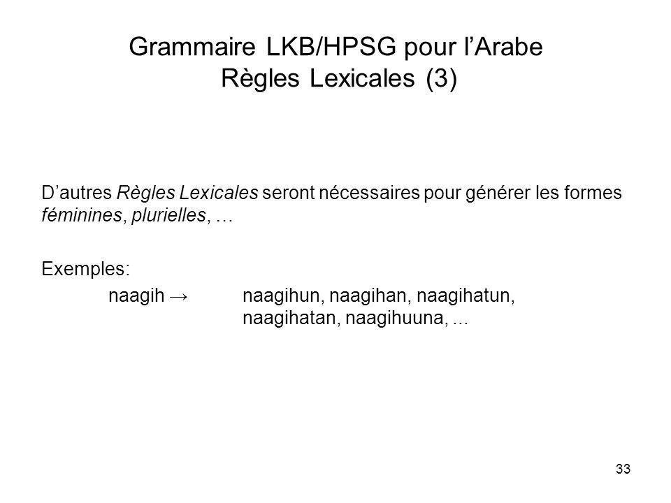 33 Grammaire LKB/HPSG pour lArabe Règles Lexicales (3) Dautres Règles Lexicales seront nécessaires pour générer les formes féminines, plurielles, … Ex