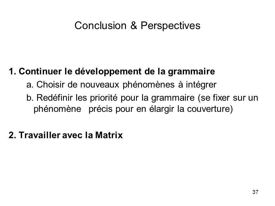 37 Conclusion & Perspectives 1. Continuer le développement de la grammaire a. Choisir de nouveaux phénomènes à intégrer b. Redéfinir les priorité pour