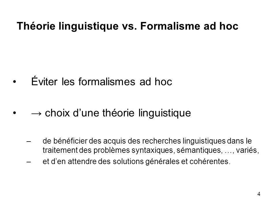 4 Théorie linguistique vs. Formalisme ad hoc Éviter les formalismes ad hoc choix dune théorie linguistique –de bénéficier des acquis des recherches li