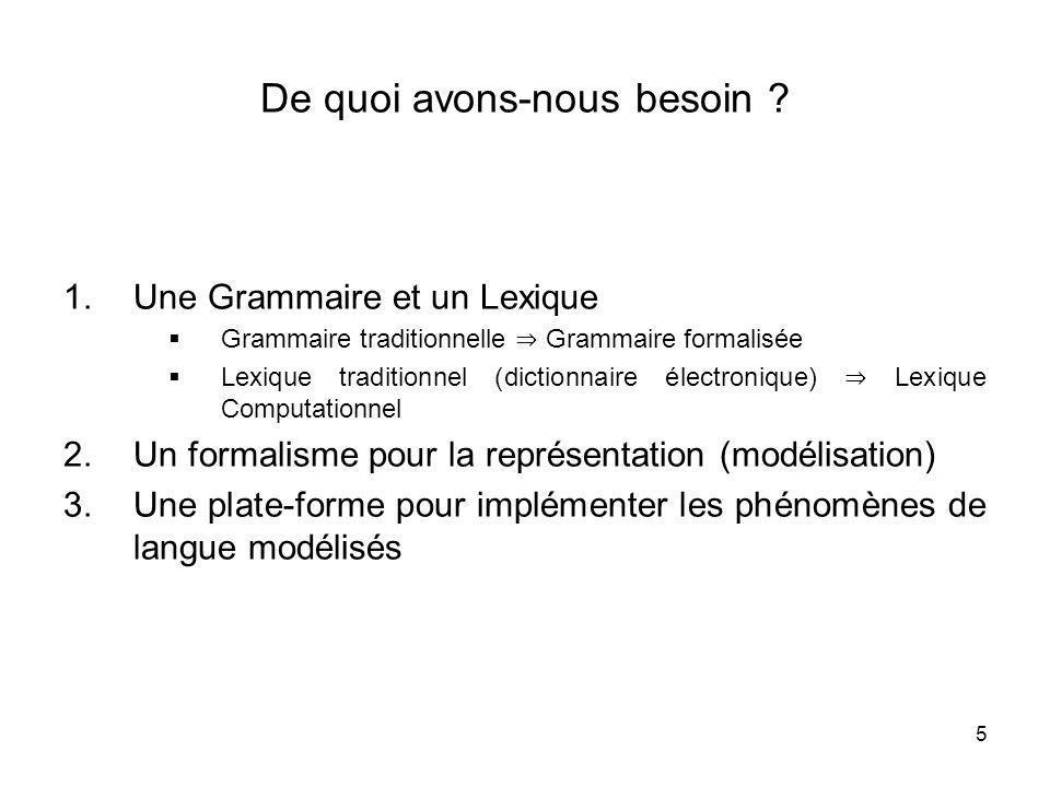 5 De quoi avons-nous besoin ? 1.Une Grammaire et un Lexique Grammaire traditionnelle Grammaire formalisée Lexique traditionnel (dictionnaire électroni