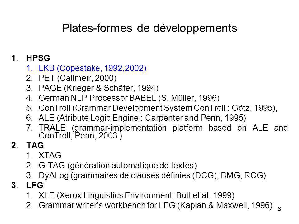 8 Plates-formes de développements 1.HPSG 1.LKB (Copestake, 1992,2002) 2.PET (Callmeir, 2000) 3.PAGE (Krieger & Schäfer, 1994) 4.German NLP Processor B