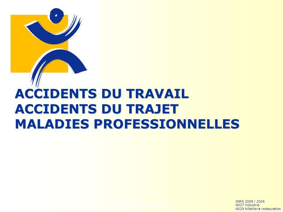 Les accidents du travail1 ACCIDENTS DU TRAVAIL ACCIDENTS DU TRAJET MALADIES PROFESSIONNELLES INRS 2005 / 2006 N027 industrie N029 hôtellerie restaurat