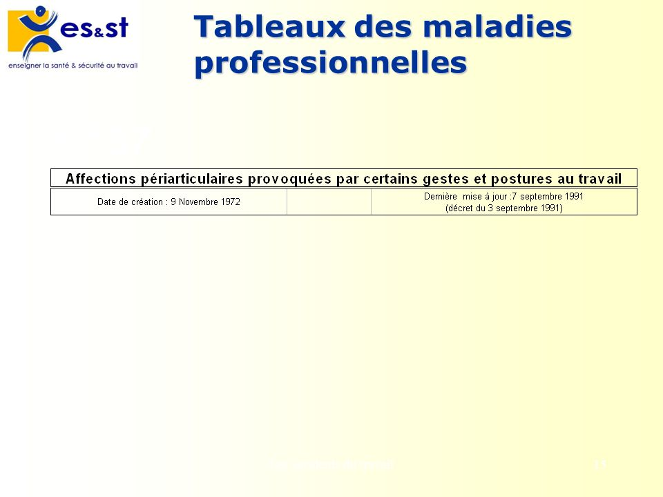 Les accidents du travail15 N°57 Tableaux des maladies professionnelles