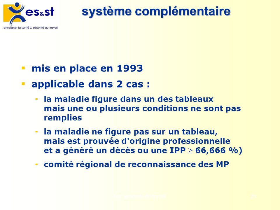 Les accidents du travail20 système complémentaire mis en place en 1993 applicable dans 2 cas : la maladie figure dans un des tableaux mais une ou plus