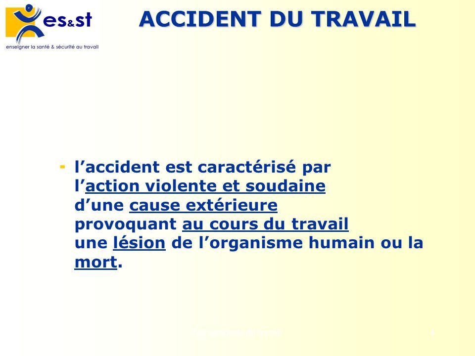 Les accidents du travail4 ACCIDENT DU TRAVAIL laccident est caractérisé par laction violente et soudaine dune cause extérieure provoquant au cours du