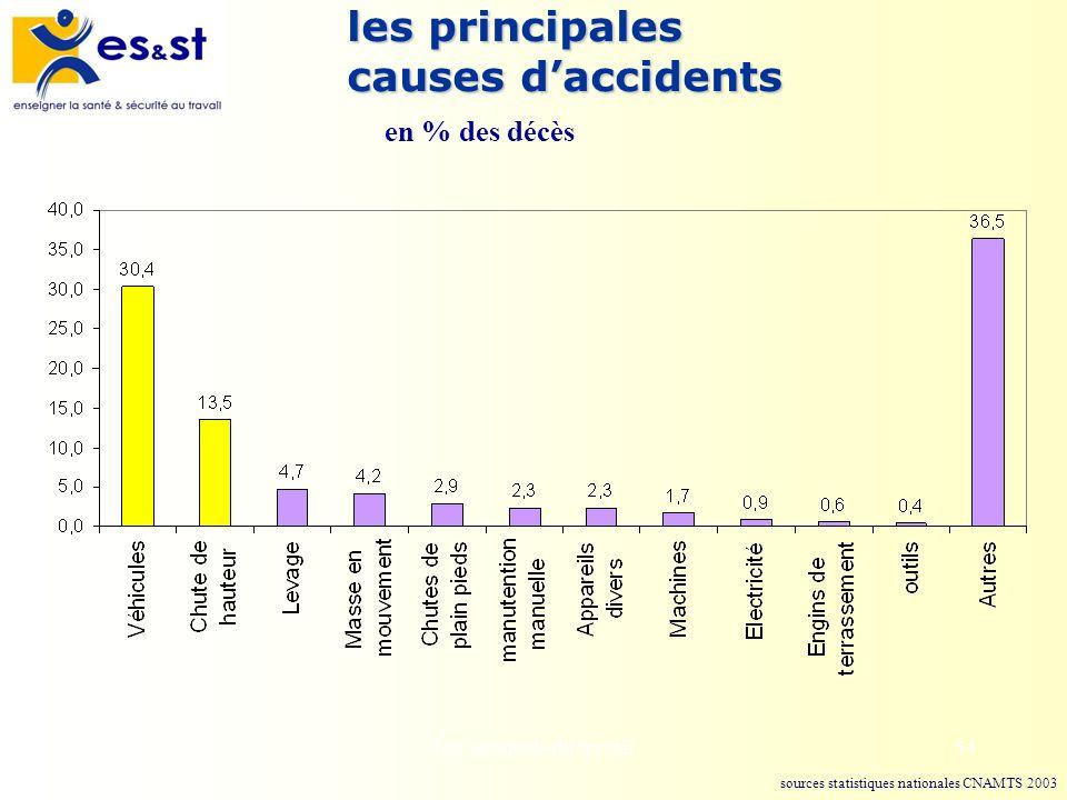 Les accidents du travail54 les principales causes daccidents en % des décès sources statistiques nationales CNAMTS 2003