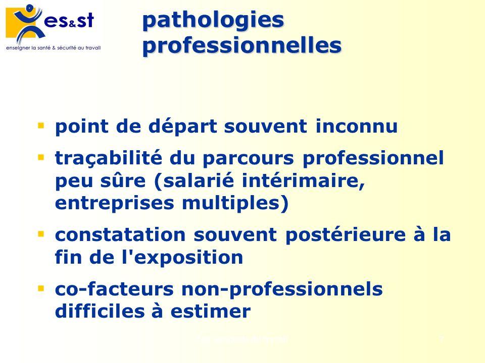 7 pathologies professionnelles point de départ souvent inconnu traçabilité du parcours professionnel peu sûre (salarié intérimaire, entreprises multip