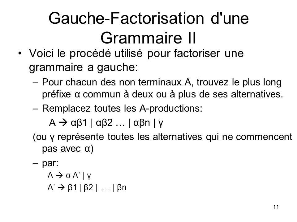 12 Gauche-Factorisation d une Grammaire III Voici un exemple d une grammaire qui a besoin detre factorisee a gauche : S iEtS | iEtSeS | a E b ( i = if; t = then; et e = else) Apres la factorisation a gauche cette grammaire devient : S iEtSS | a S eS | є E b