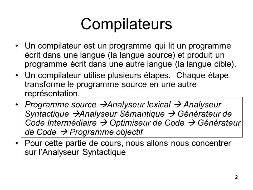 3 Analyse Syntactique Lanalyse syntactique est le processus qui détermine si une chaine de jetons peut être produite par une grammaire.