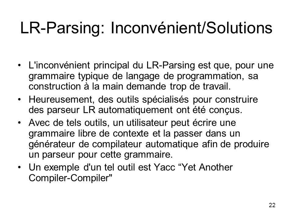 22 LR-Parsing: Inconvénient/Solutions L'inconvénient principal du LR-Parsing est que, pour une grammaire typique de langage de programmation, sa const
