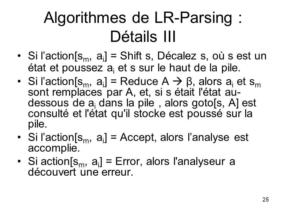 25 Algorithmes de LR-Parsing : Détails III Si laction[s m, a i ] = Shift s, Décalez s, où s est un état et poussez a i et s sur le haut de la pile. Si