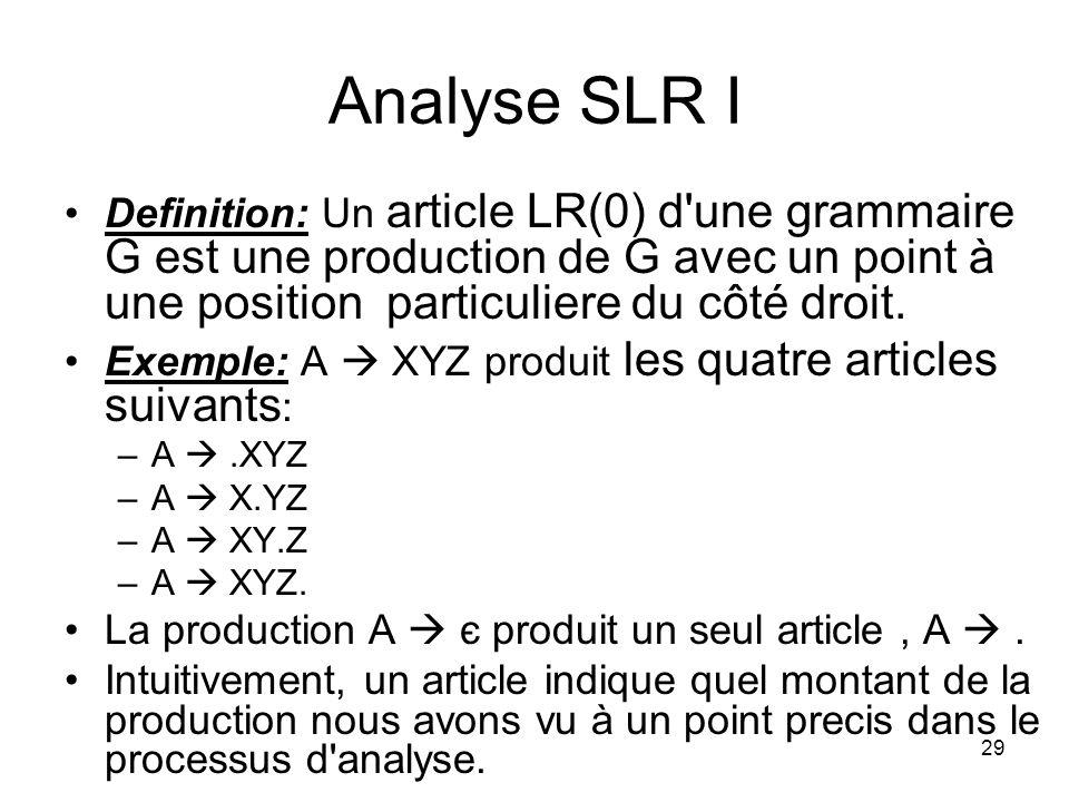30 Analyse SLR II Pour créer une table d analyse de SLR, nous définissons trois nouveaux éléments : –Une grammaire augmentée pour G, la grammaire initiale.