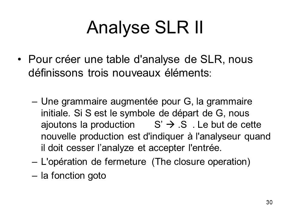 31 Analyse SLR II : L opération de fermeture Si I est un ensemble d articles pour une grammaire G, alors closure(I) est l ensemble d articles construits a partir de I par les deux règles suivantes: 1.Au commencement, chaque article de I est ajouté a closure(I) 2.Si A α.
