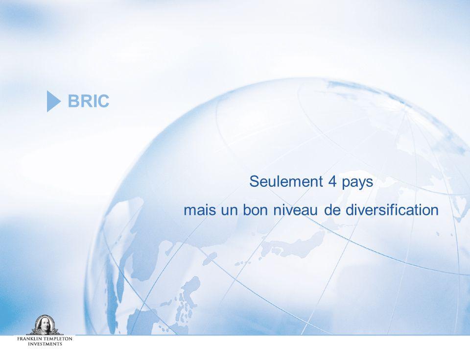 BRIC Seulement 4 pays mais un bon niveau de diversification