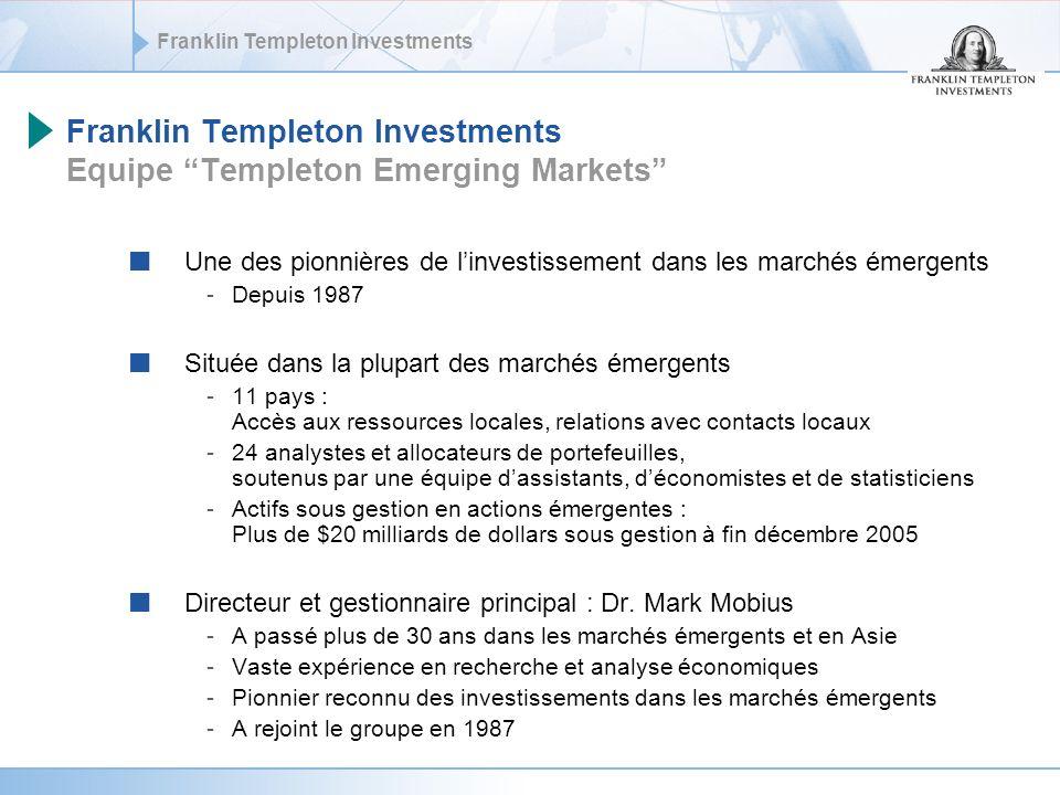 Franklin Templeton Investments Faible corrélation: Diversification optimale Source MSCI, juillet 2006.
